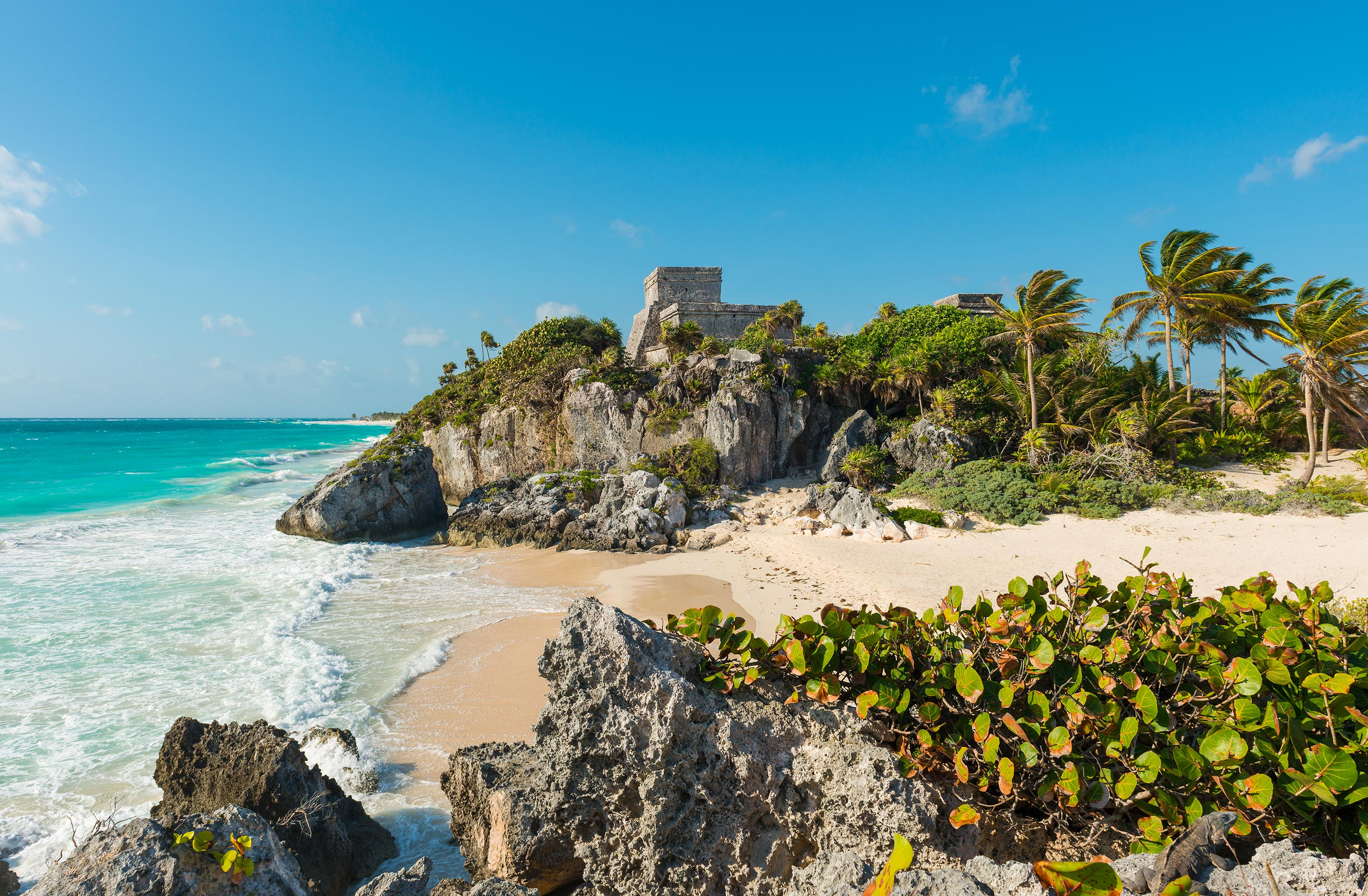 Beautiful Beach with Mayan Ruins, Tulum, Mexico