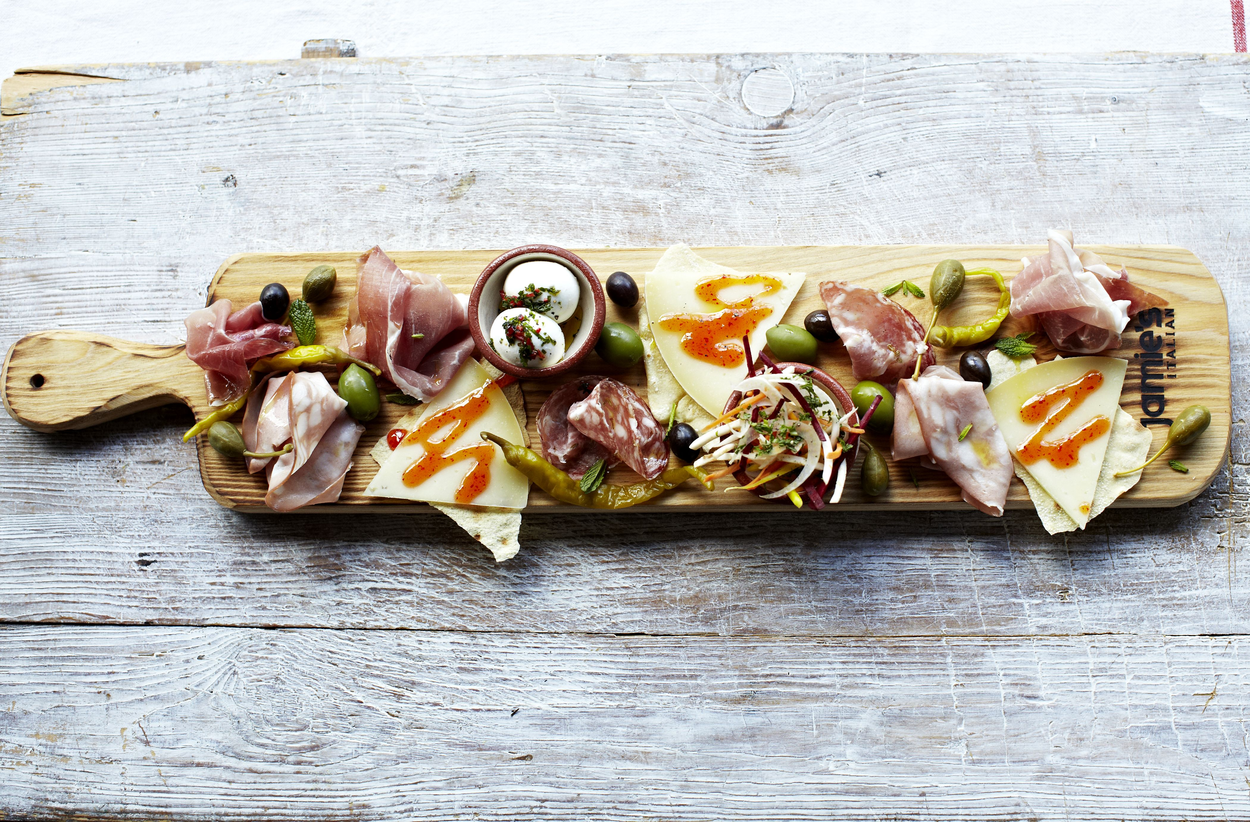 Jamie's Italian Meat and Cheese Charcuterie Plank