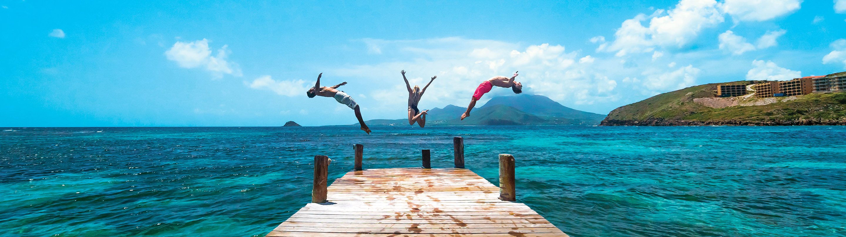 St. Kitts Spring break Friends Jumping Bridge Ocean
