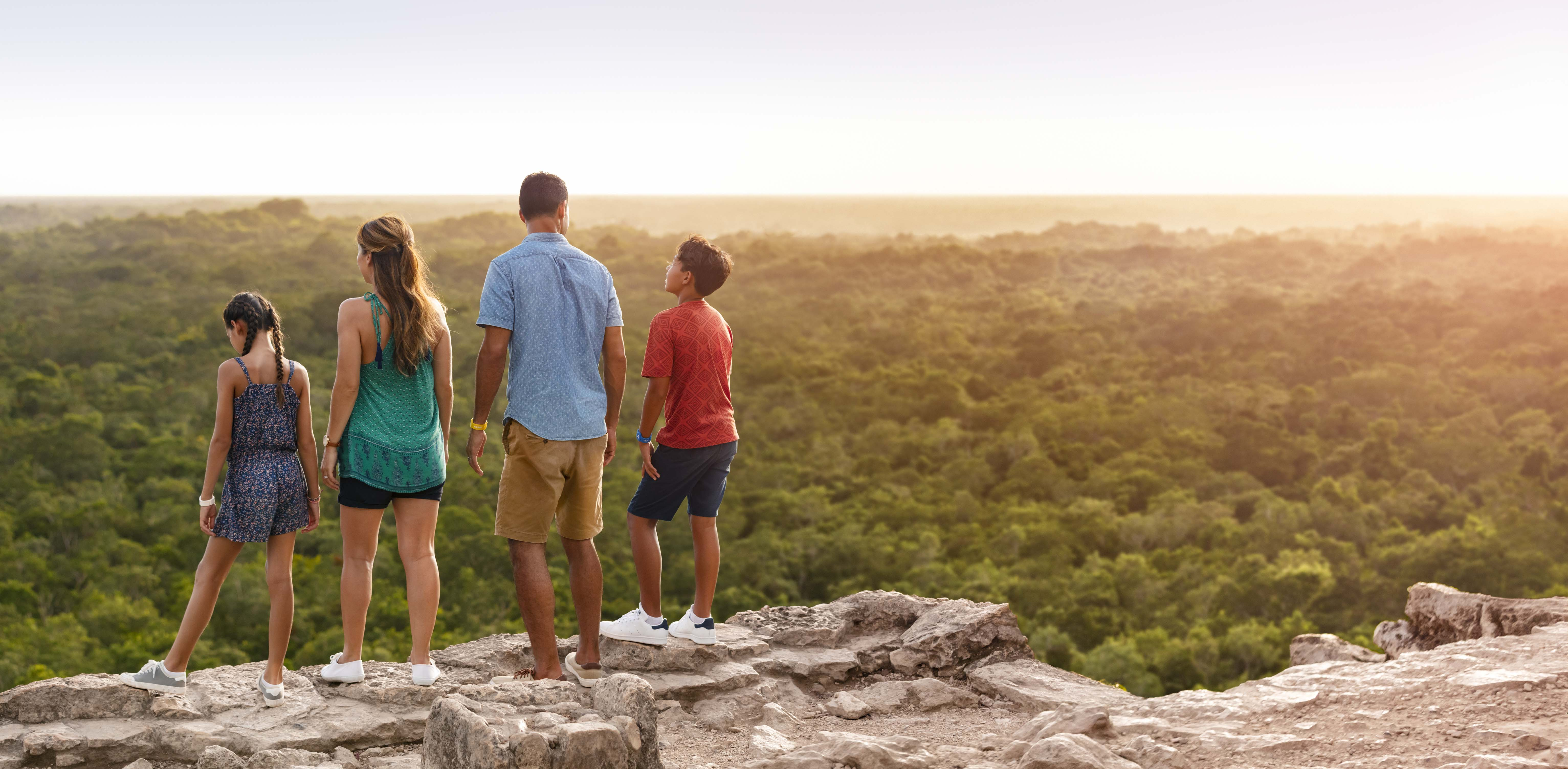 Family Enjoying a Sunset at Coba Ruins