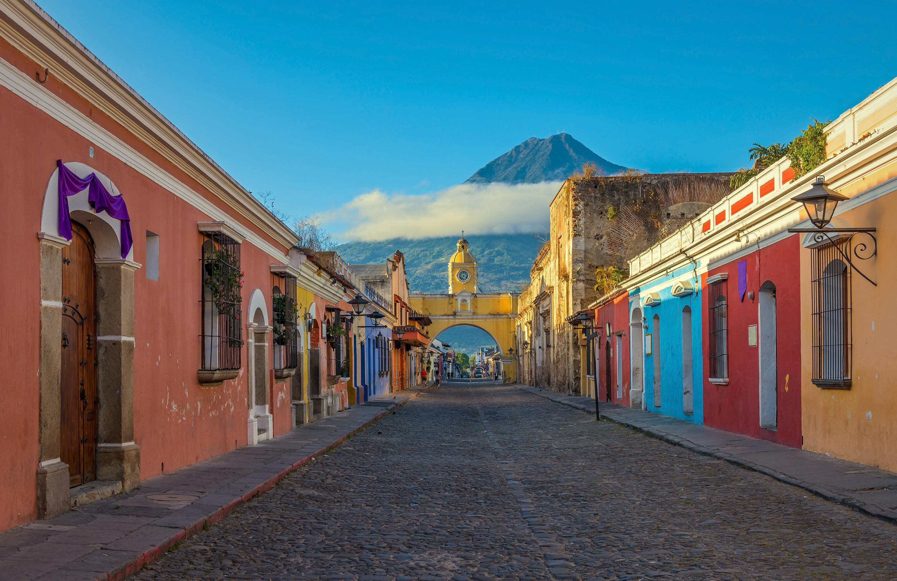 Antigua, Guatemala with Agua Volcano in the Background
