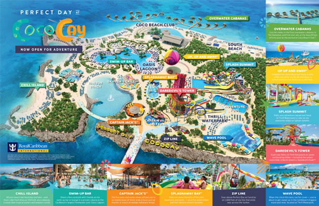 An overhead map of Perfect Day at CocoCay that highlights the main attractions.