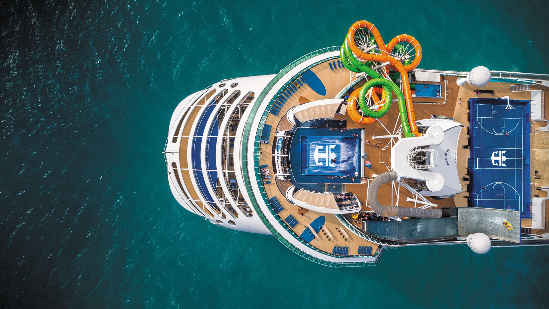 Liberty of the Seas, Aerial view.