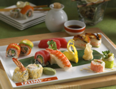 Assorted Sushi Rolls Platter served at Izumi, Japanese Restaurant. One of the best fine dining cuisine on a cruise.