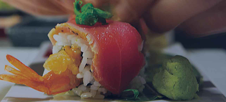 Sushi Roll background image from Izumi, fine dining Japanese Restaurant. Cruise dining on Royal Caribbean Ships.