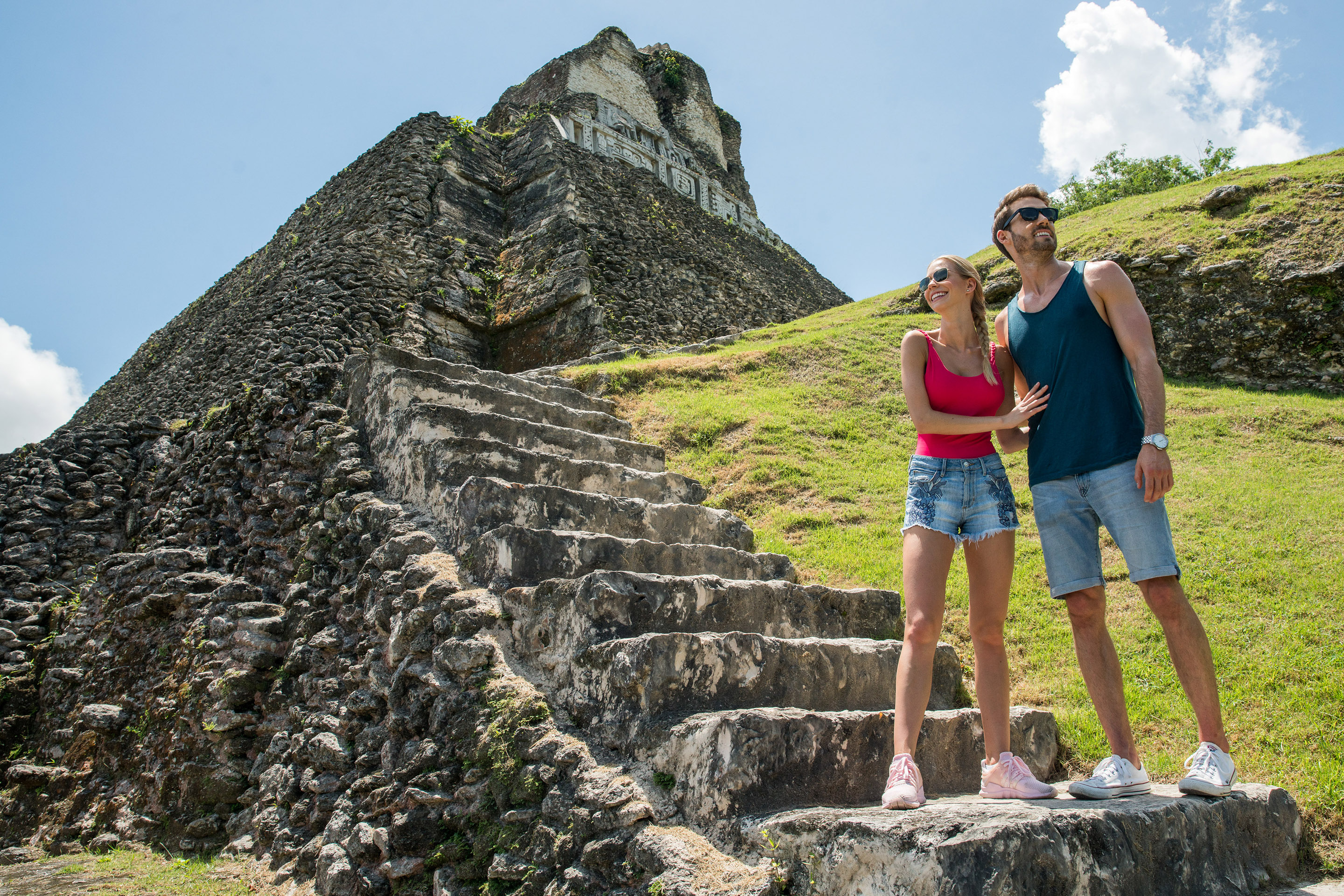 Couple Hiking Through Ancient Ruins.
