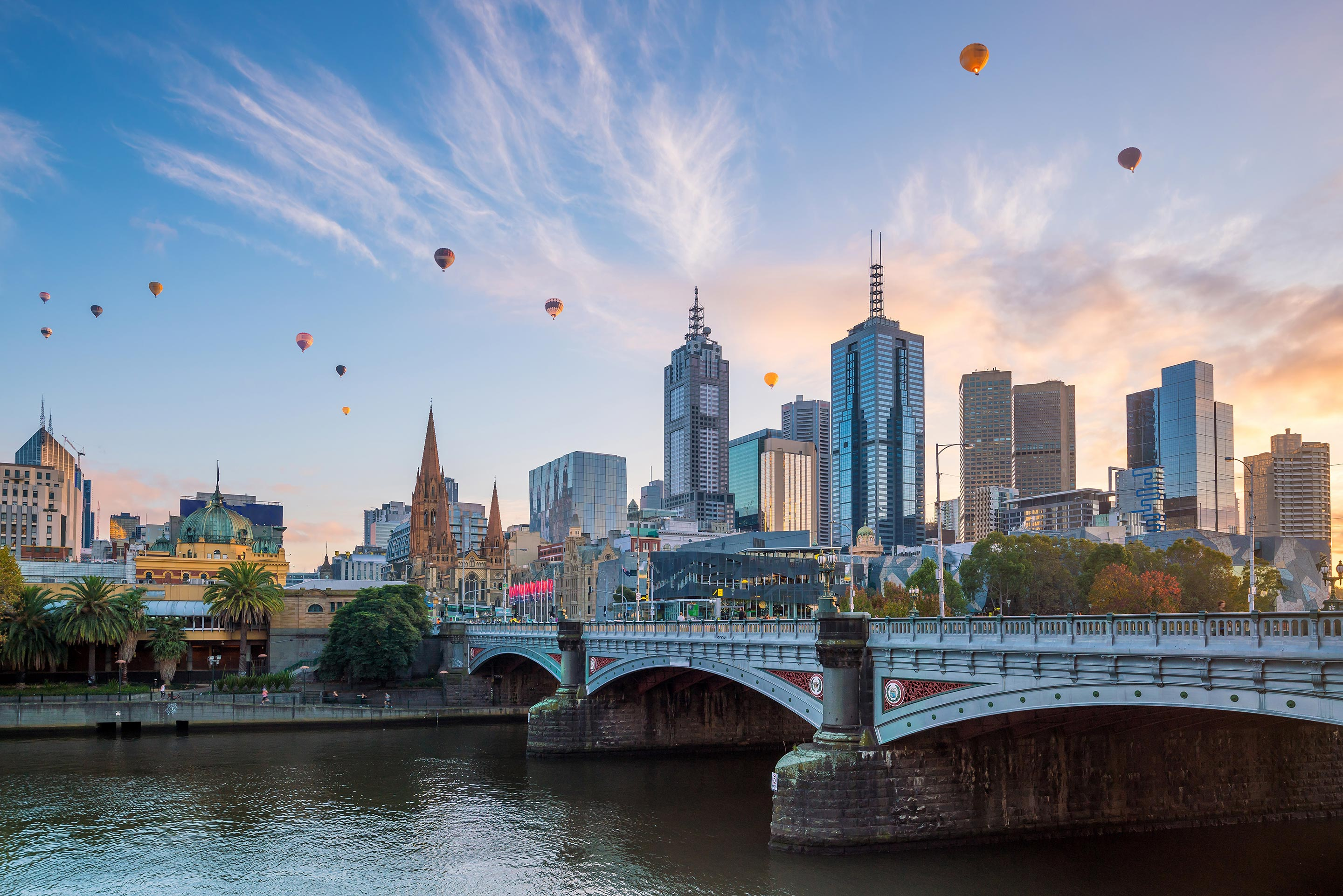 City Skyline filled with Hot Air Balloons in Melbourne, Australia