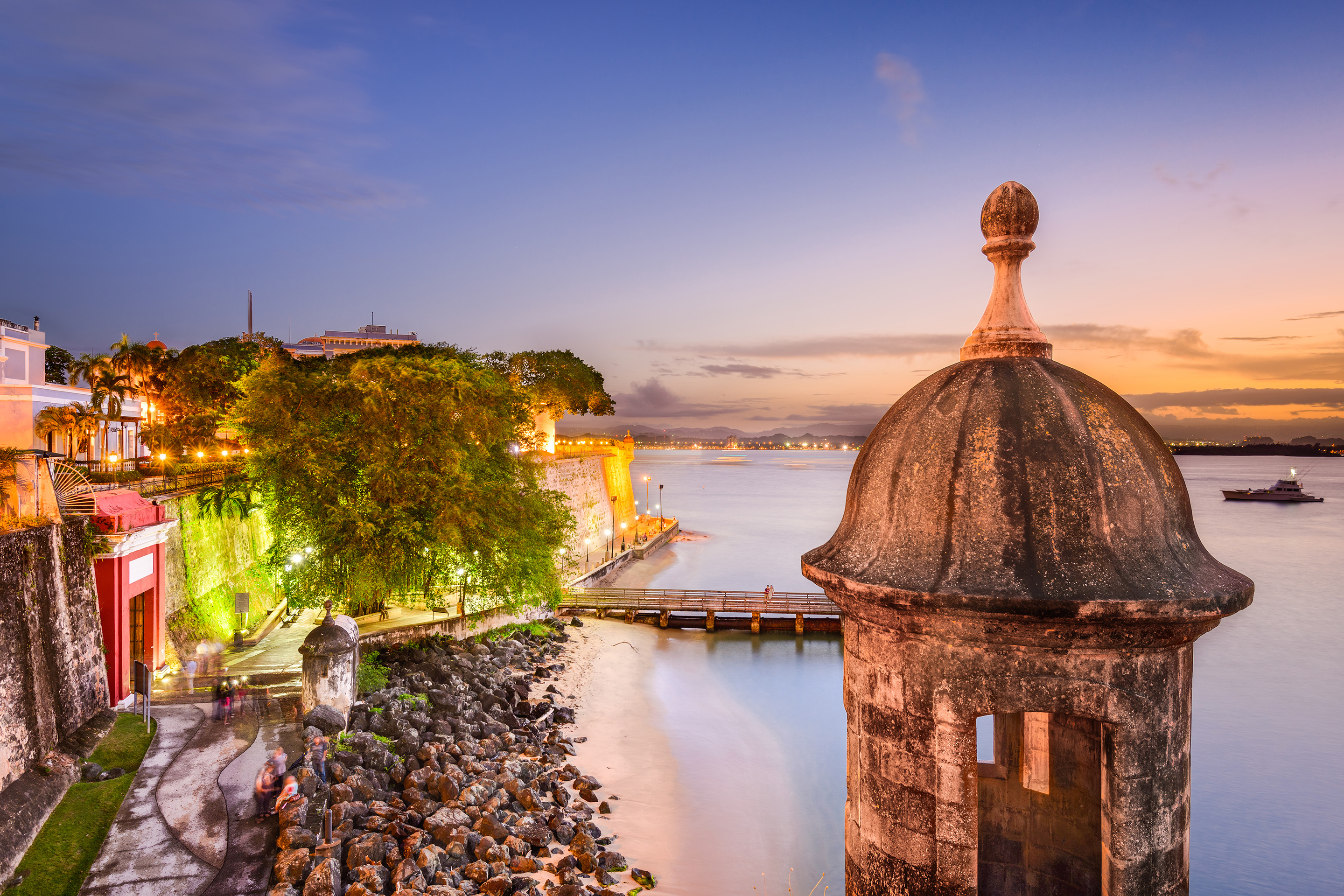 The morro fort in San Juan, Puerto Rico during sunset