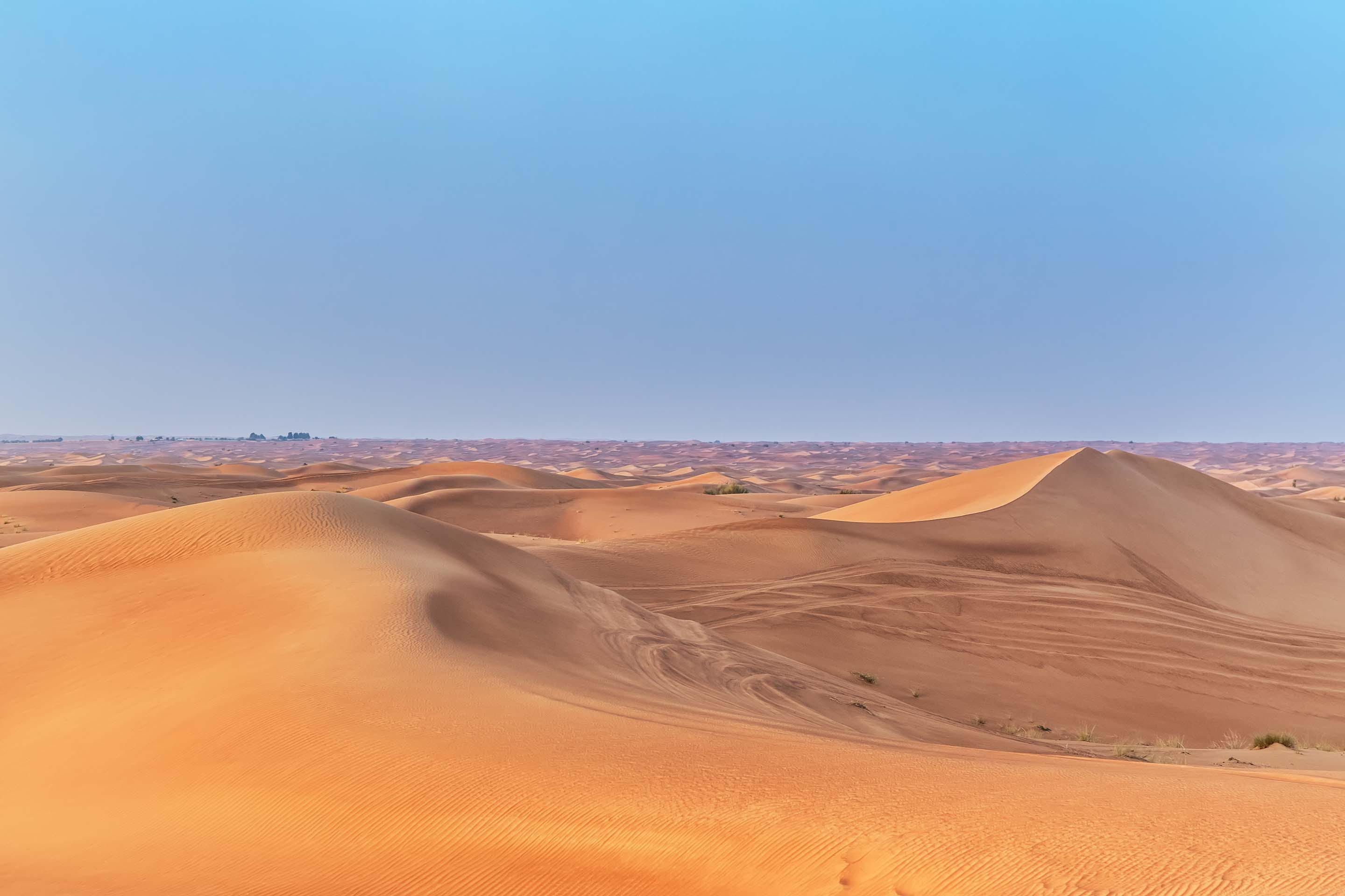 Desert Sand Dunes and Blue Skyline, Arabian Gulf