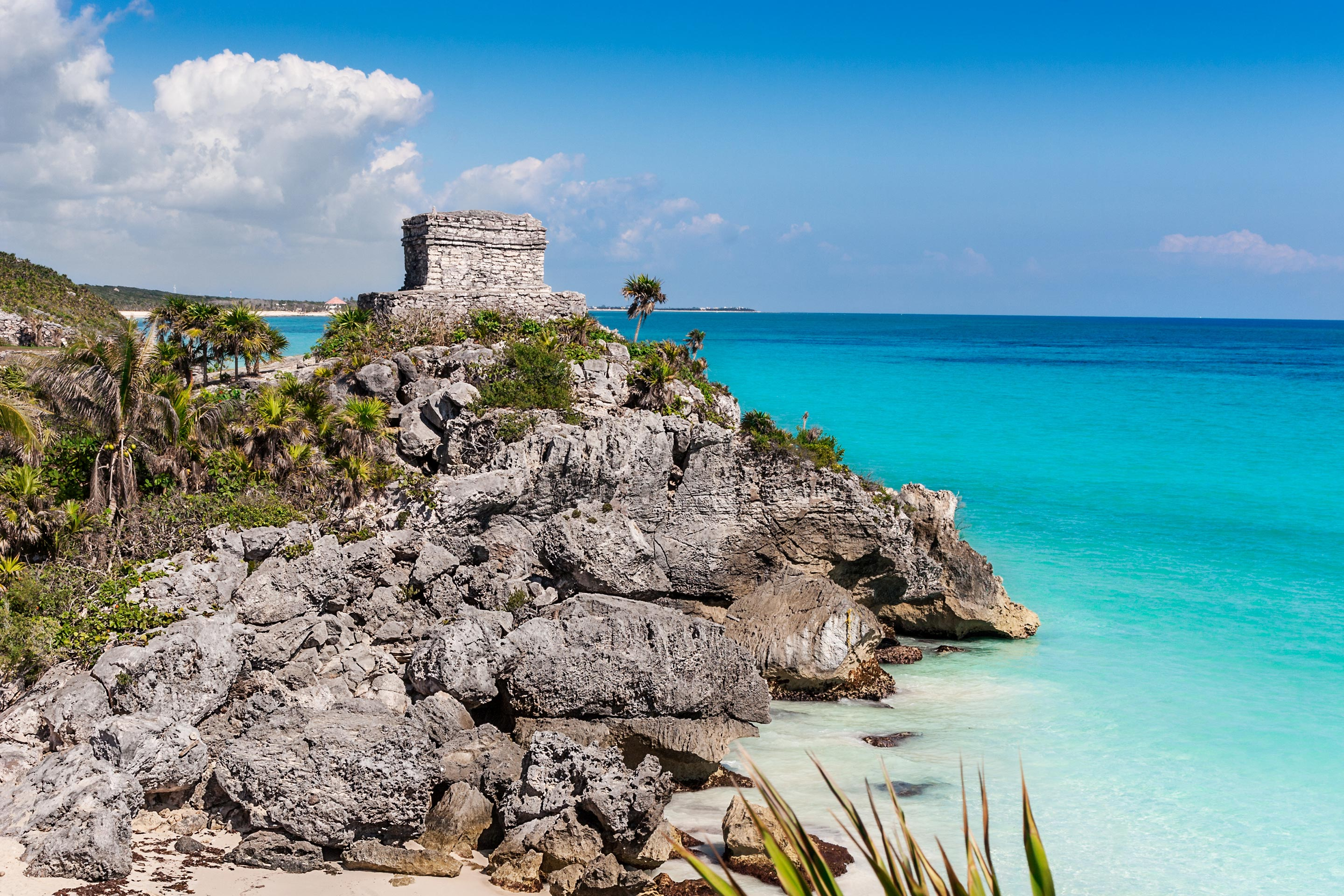 Temple Ruins along the beach in Tulum, Mexico