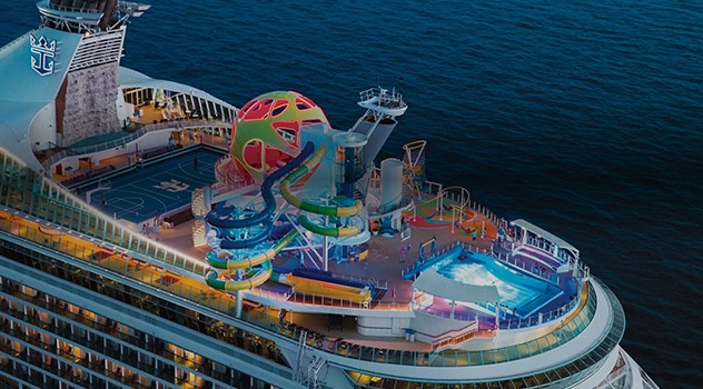 Aerial Night View of Mariner of the Seas