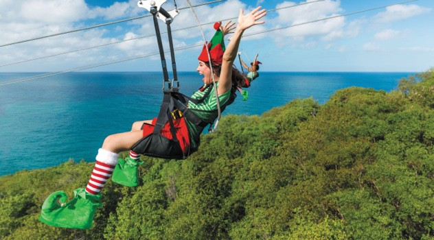 Elf on a ziplining during the Holiday cruises