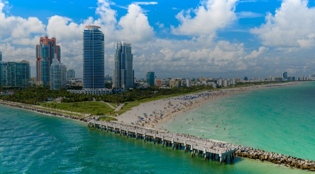 Miami, Florida South Beach Aerial View.