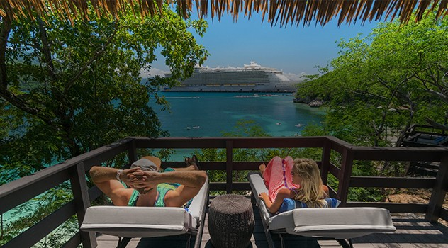 Couple enjoying view in Labadee, Haiti.